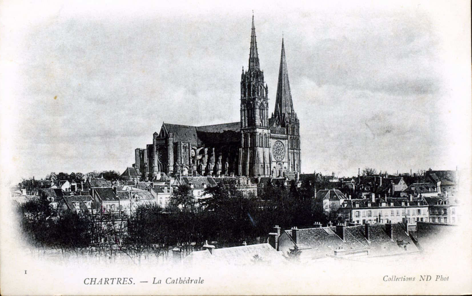 photo chartres 28000 la cath drale vers 1910 carte postale ancienne chartres 213585. Black Bedroom Furniture Sets. Home Design Ideas
