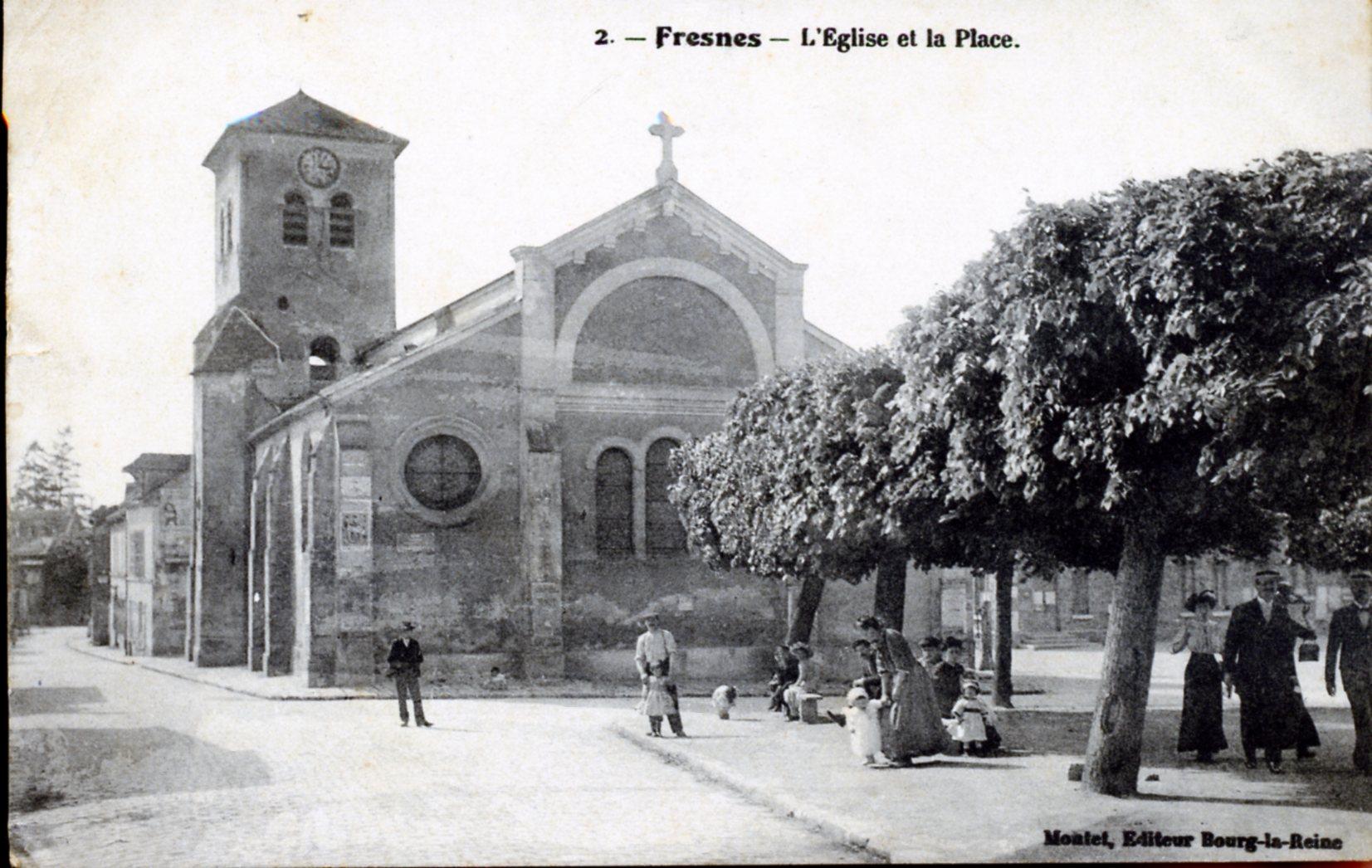 Photo fresnes 94260 l 39 glise et la place vers 1914 carte postale ancienne fresnes - Meteo fresnes 94260 ...