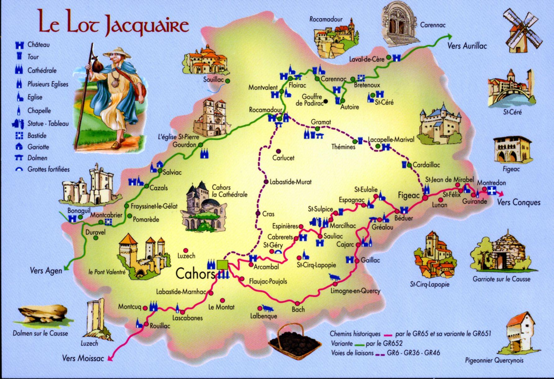 Photo à Cahors (46000) : Le Lot Jacquaire (carte postale de 1990). - Cahors, 228577 Communes.com