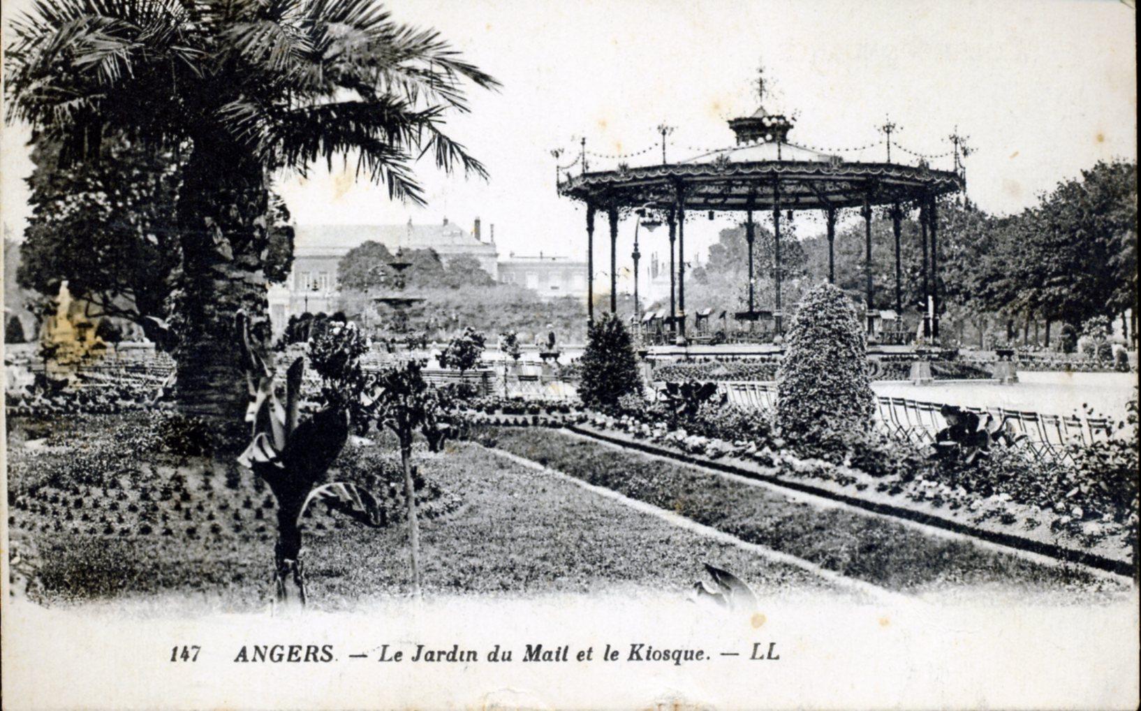 Photo angers 49000 le jardin du mail et le kiosque vers 1928 carte postale ancienne - Jardin interieur du lac angers ...