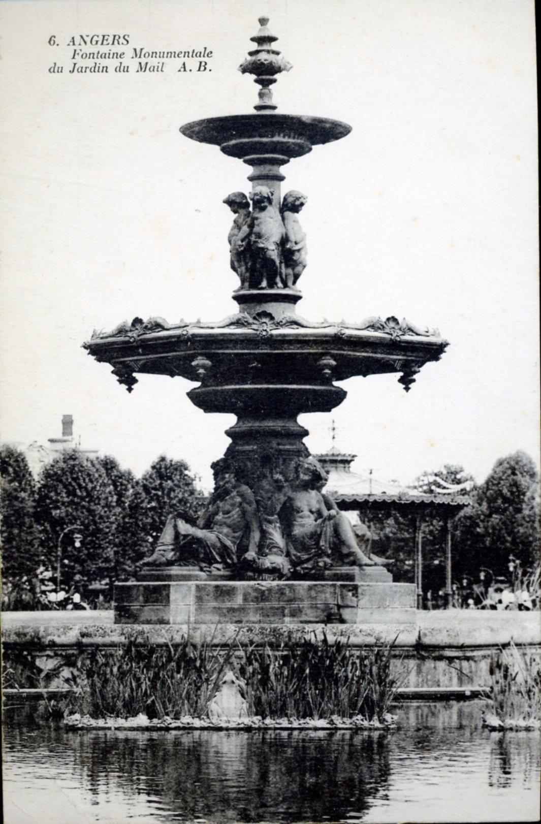 photo angers 49000 fontaine monumentale du jardin du mail vers 1928 carte postale. Black Bedroom Furniture Sets. Home Design Ideas