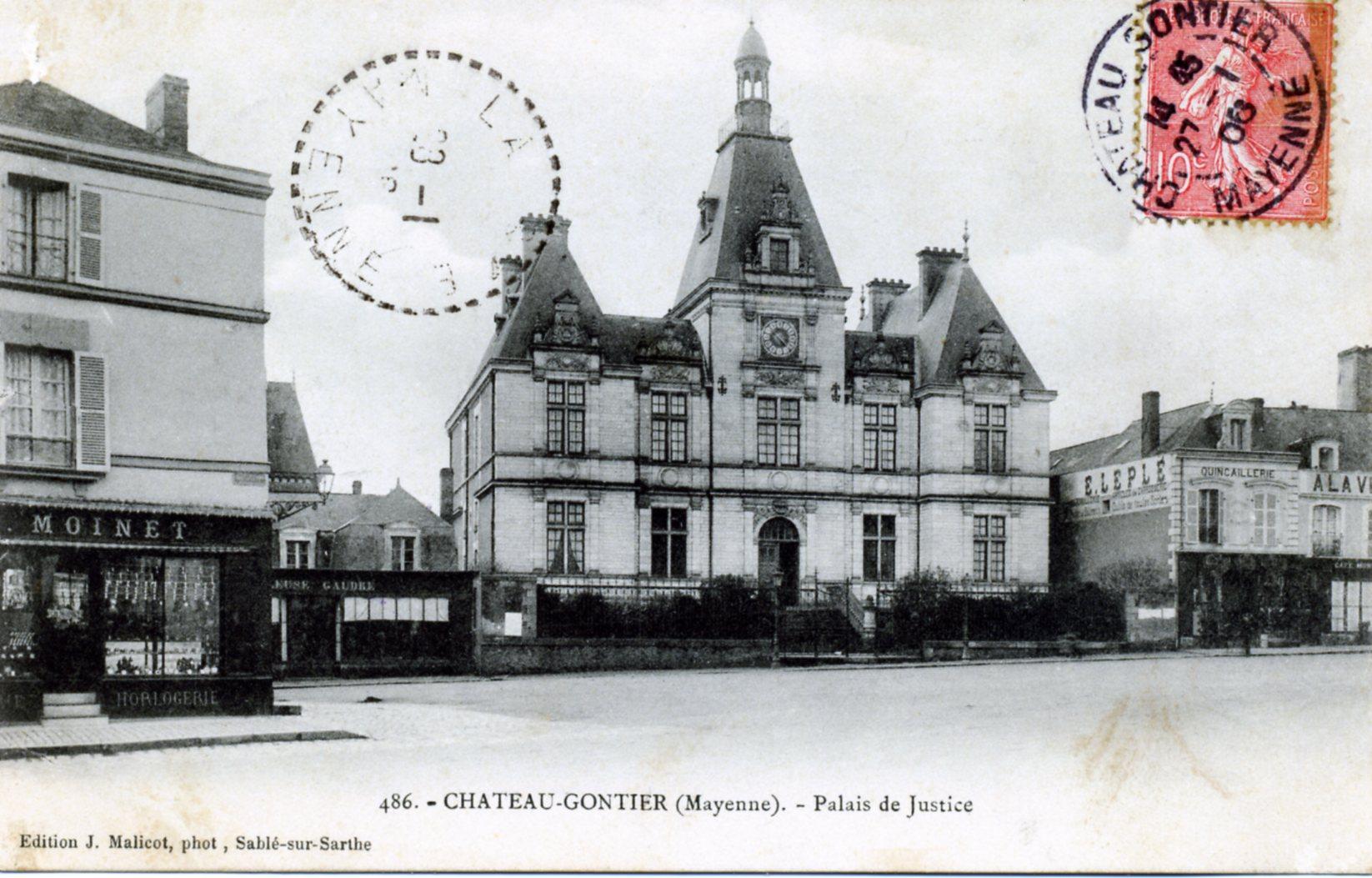 photo ch teau gontier 53200 palais de justice vers 1906 carte postale ancienne. Black Bedroom Furniture Sets. Home Design Ideas