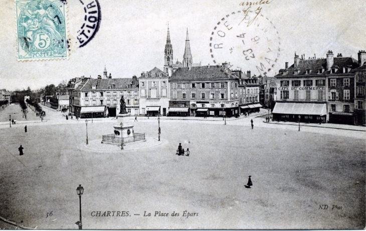 photo chartres 28000 la place des epars vers 1906 carte postale ancienne chartres. Black Bedroom Furniture Sets. Home Design Ideas