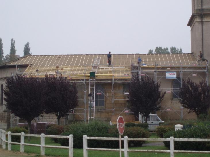 photo buzy darmont 55400 r fection de la toiture de l 39 glise buzy darmont 9416. Black Bedroom Furniture Sets. Home Design Ideas