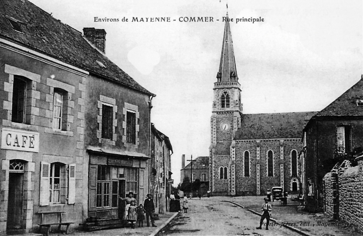 La rue principale, vers 1910 (carte postale ancienne). - Commer